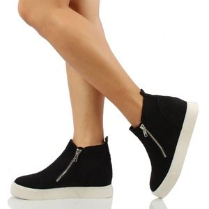 SODA Taylor Black Hidden Wedge Sneakers